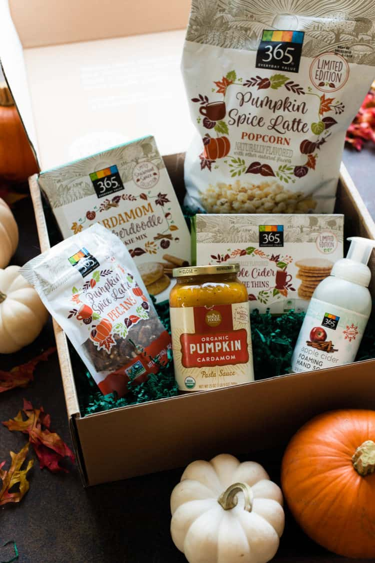 Box of Whole Foods products inspired by fall flavors.