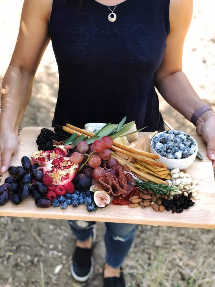 Charcuterie board created during California Ripe Olives Grove Tour, with candied olives.