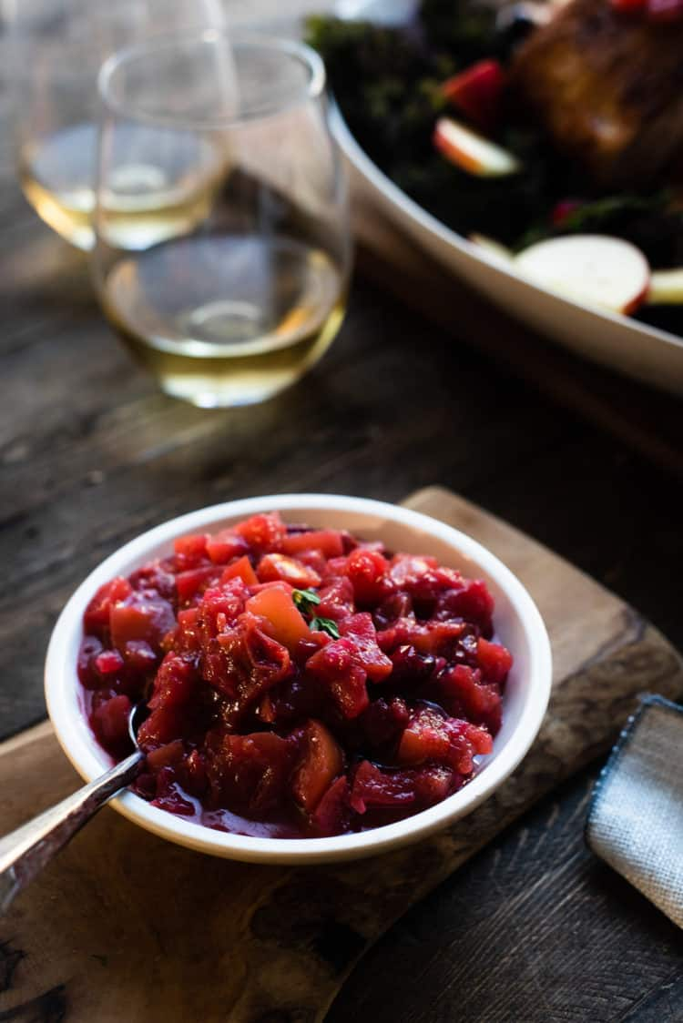 Apple Chutney in a small serving dish for Roast Pork Loin with Apple Chutney