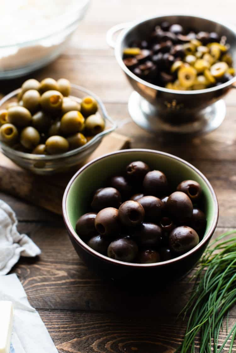 Bowls of black and green California ripe olives.