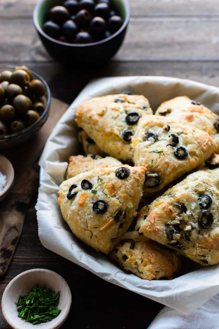 Savory Olive Cheese Scones made with California Ripe Olives in a serving dish.