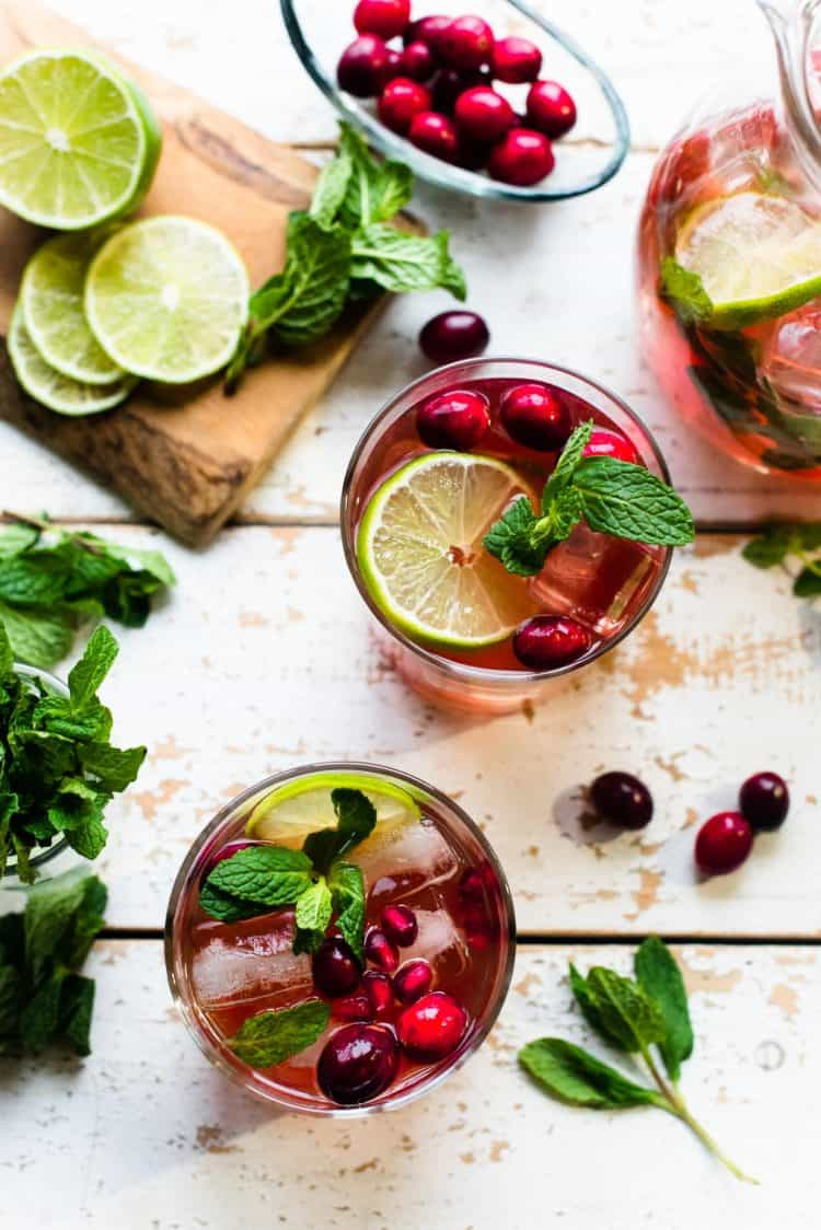 Overhead shot of Cranberry Pomegranate Mojitos
