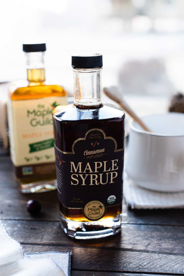 Cinnamon infused Maple Syrup from The Maple Guild in a recipe for Maple Glazed Cranberry Bread.