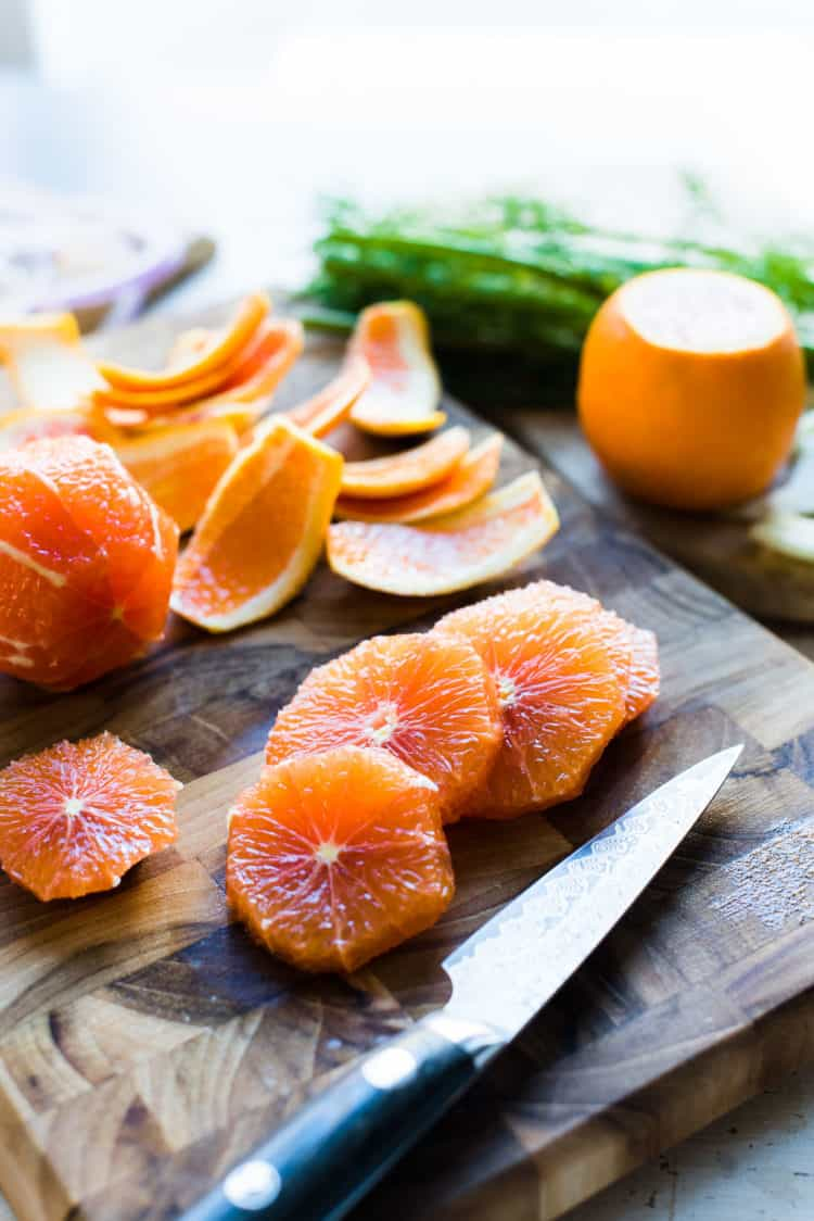 Sliced cara cara oranges for Citrus and Avocado Salad with Quick-pickled Fennel