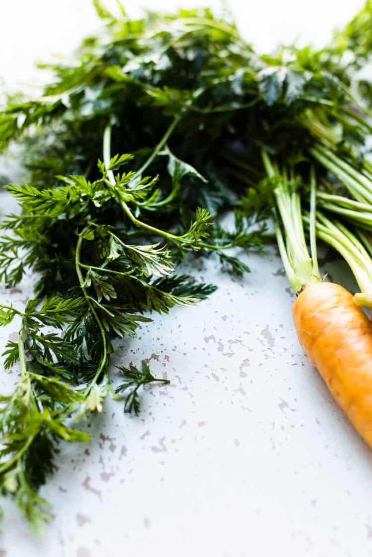 Carrot tops for Honey-Spice Glazed Carrots.