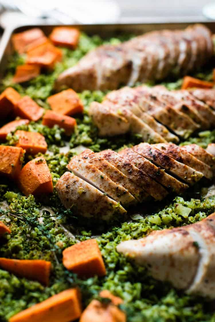 Sliced Sheet Pan Moroccan Chicken with Broccoli Rice and