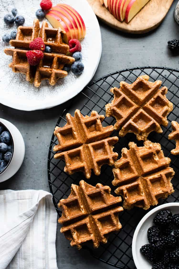 Apple Oatmeal Blender Waffles on a rack.