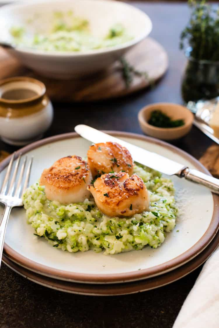 Seared Scallops with Broccoli Risotto.