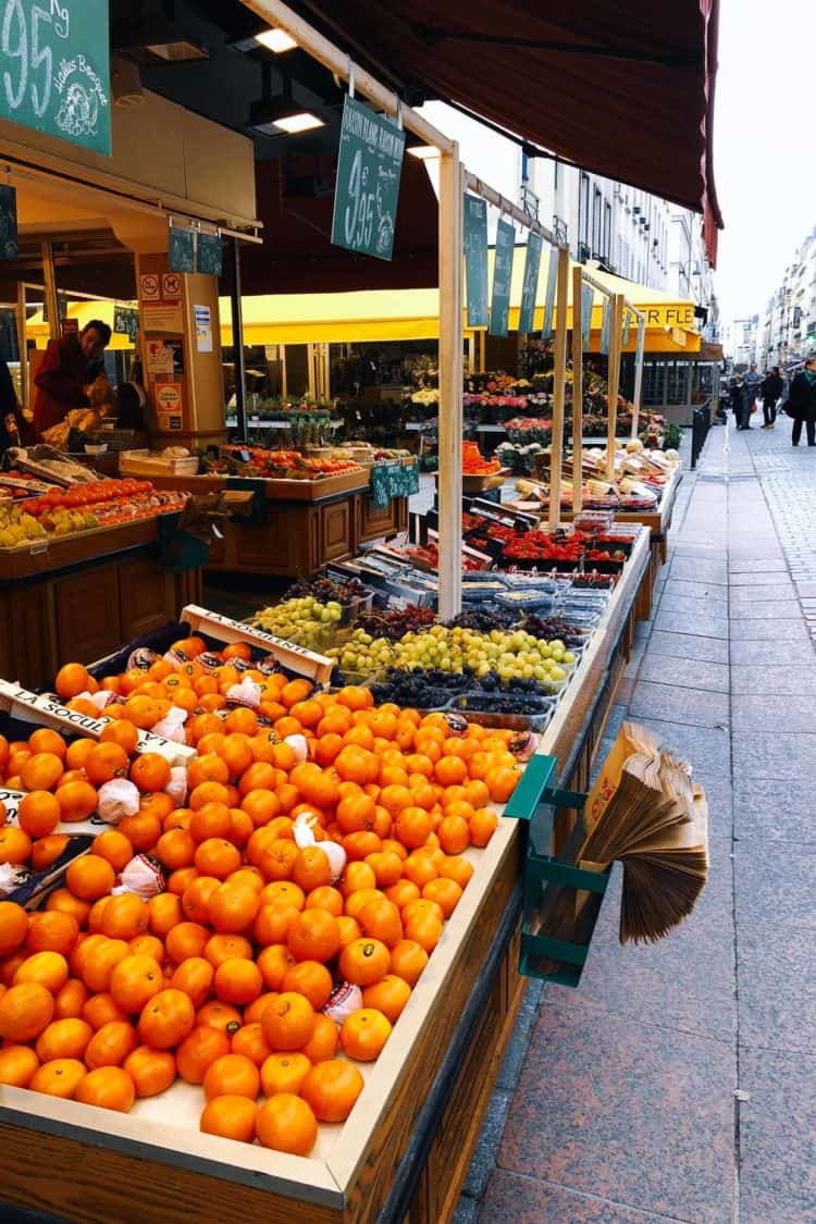 Markets of Paris with fruit