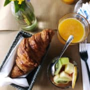 Buttery croissant breakfast in France.