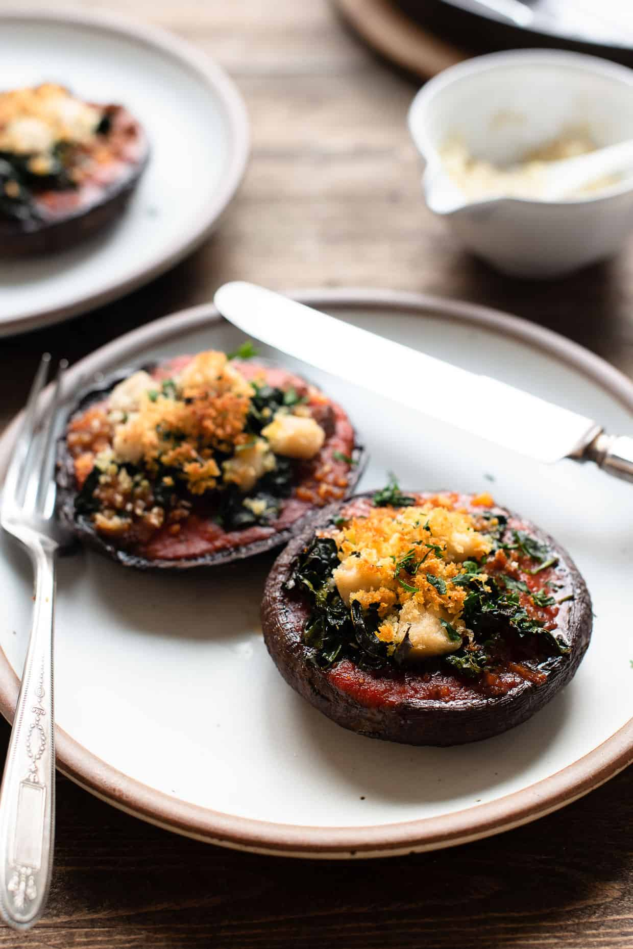 Stuffed Portobello Mushrooms With Garlicky Kale Kitchen Confidante