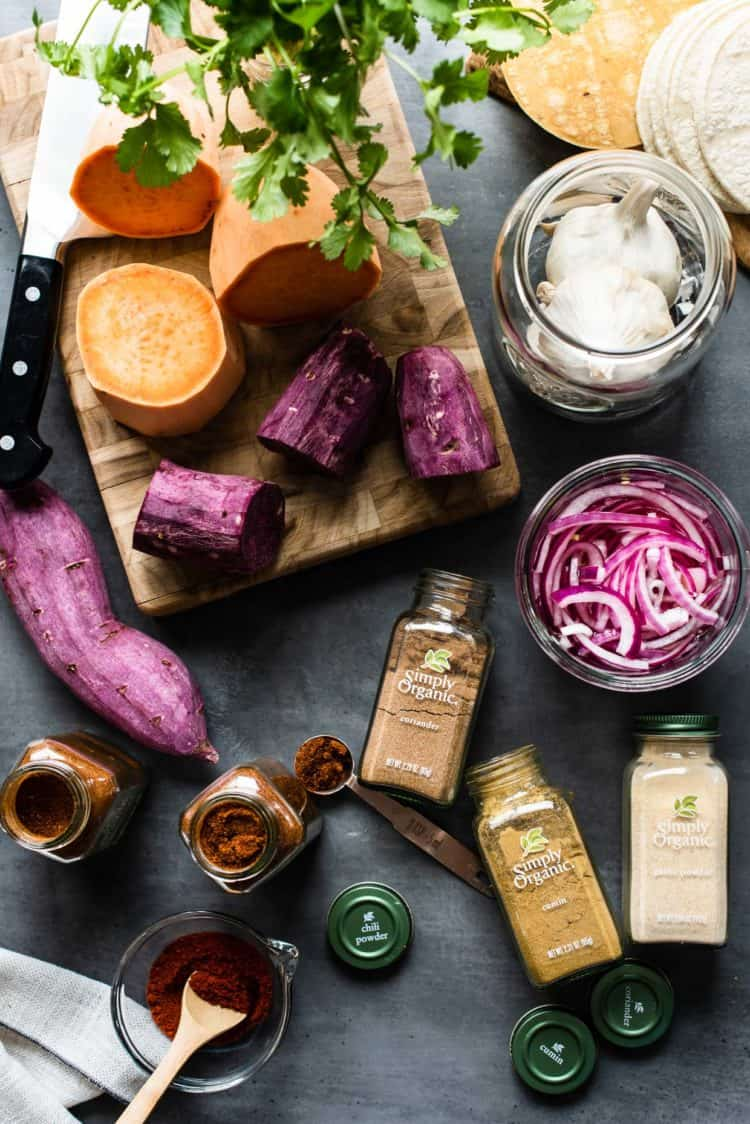 Ingredients for Chipotle-Spiced Sweet Potato Tacos