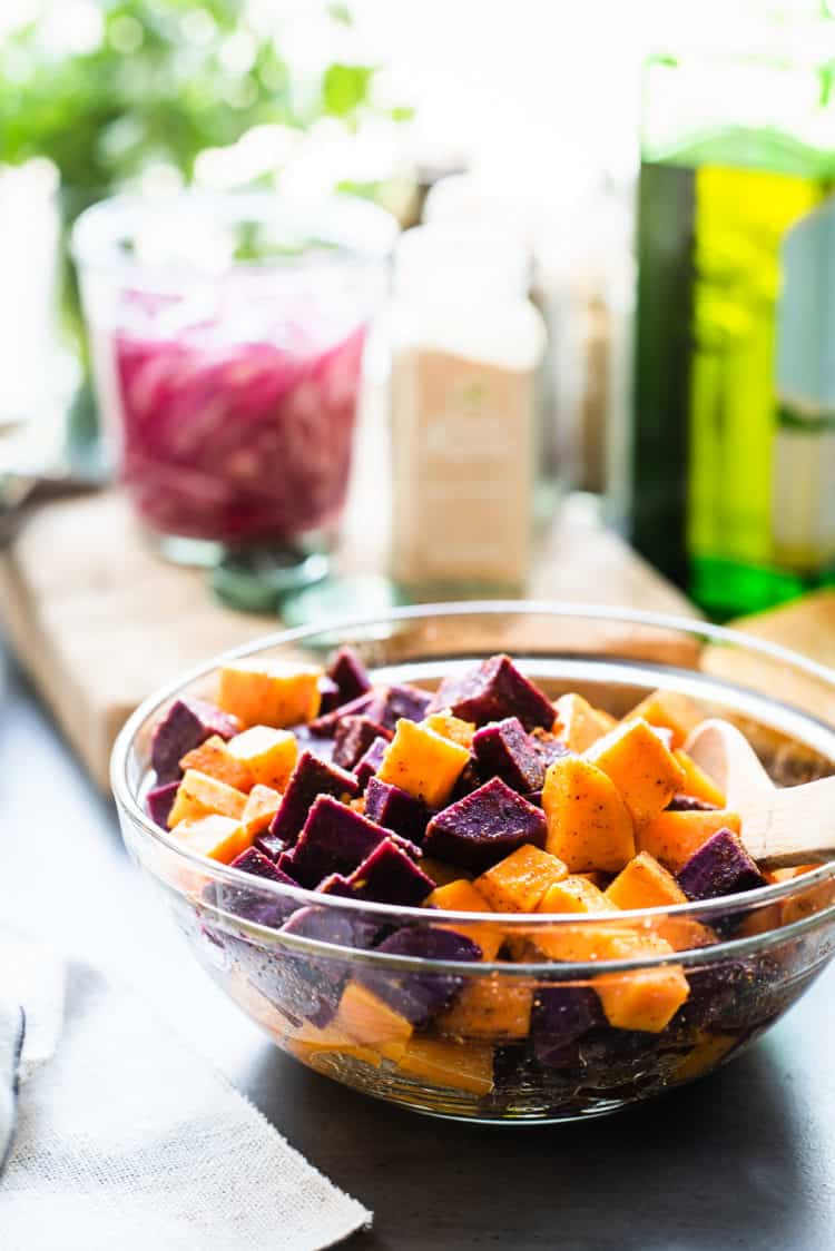 Sweet Potatoes for Chipotle-Spiced Sweet Potato Tacos in a glass bowl.
