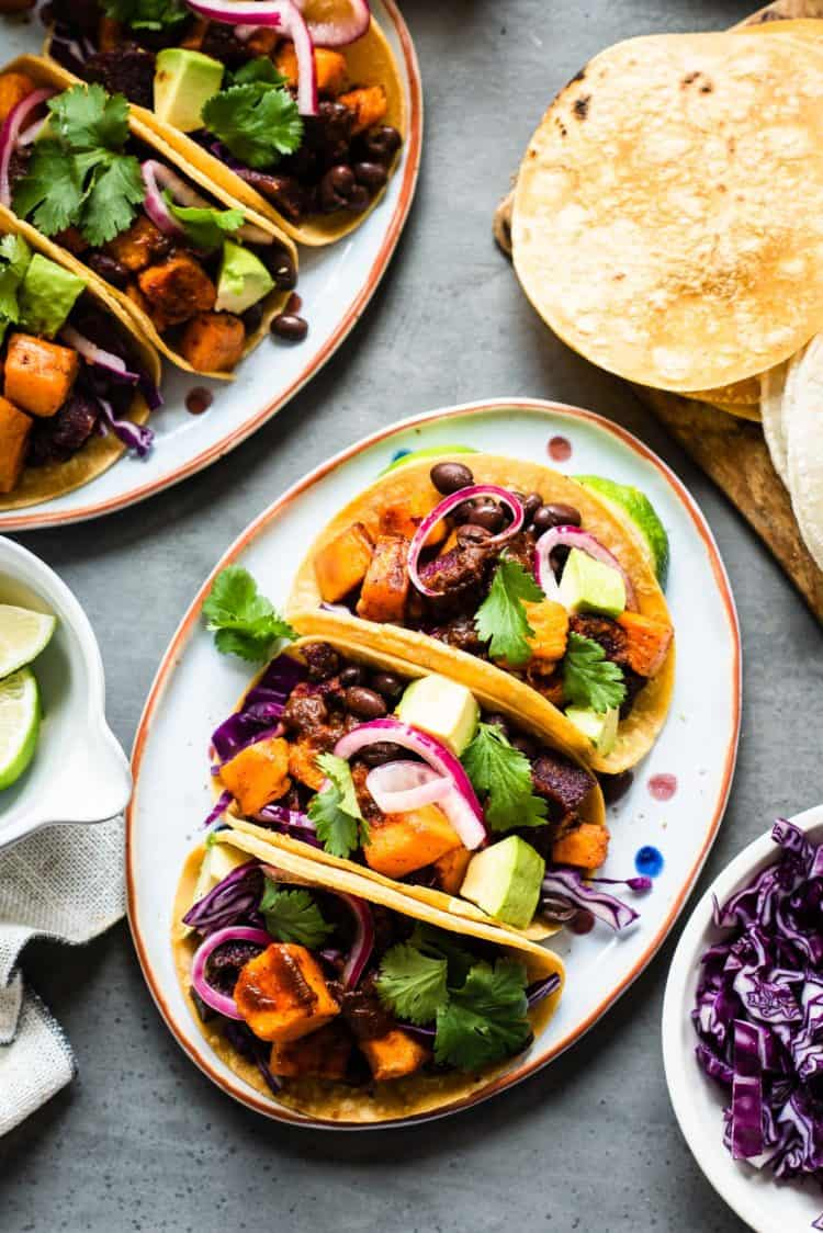 Chipotle-Spiced Sweet Potato Tacos on a platter.