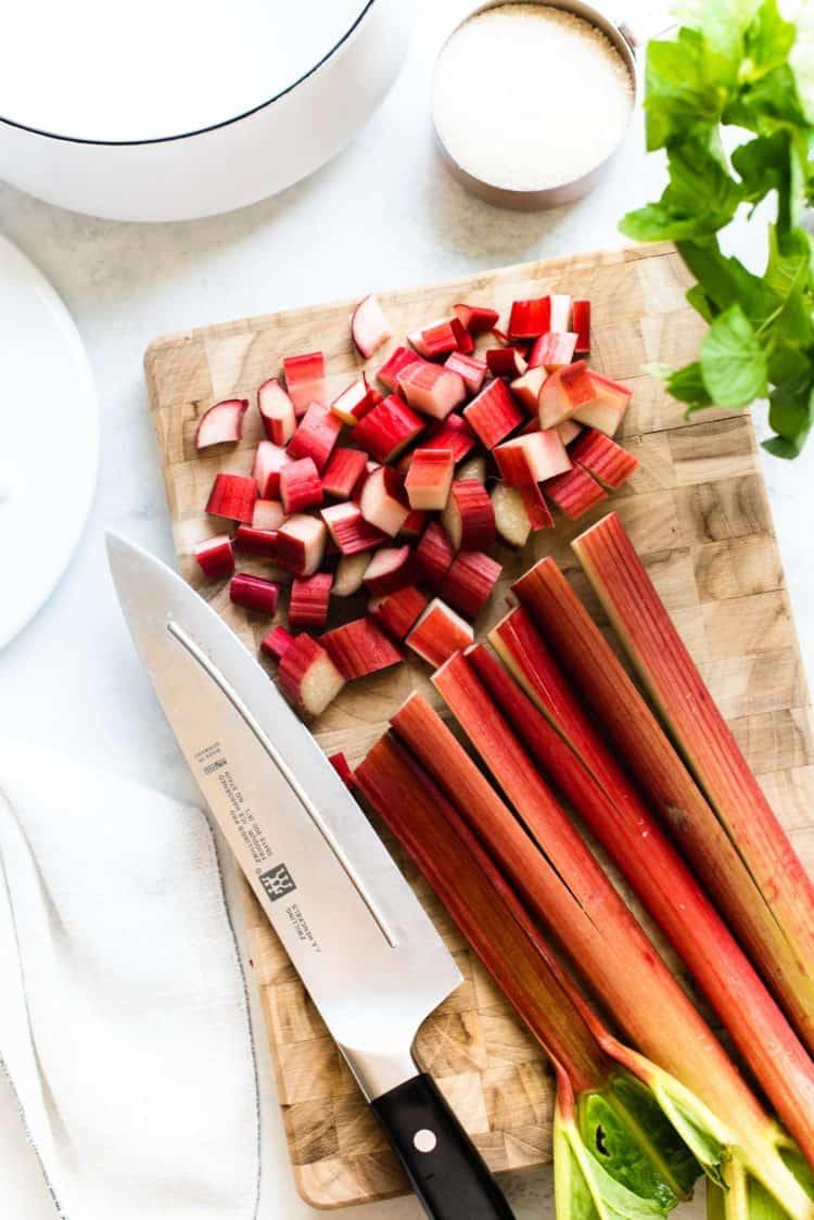 Chopped rhubarb for rhubarb syrup for Rhubarb Mint Margaritas.
