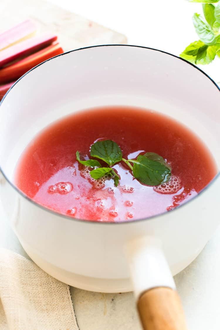Rhubarb Syrup for Rhubarb Mint Margarita.