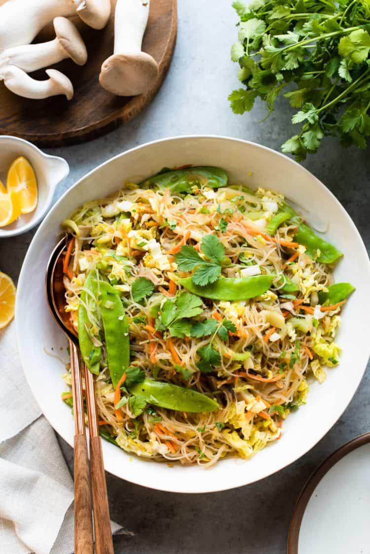 Vegetarian Pancit Bihon in a serving dish.