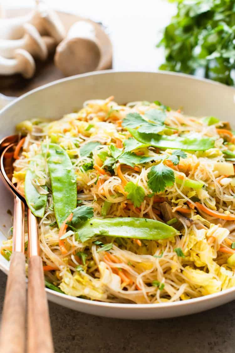 Vegetarian Pancit Bihon - noodles with veggies in a serving dish.