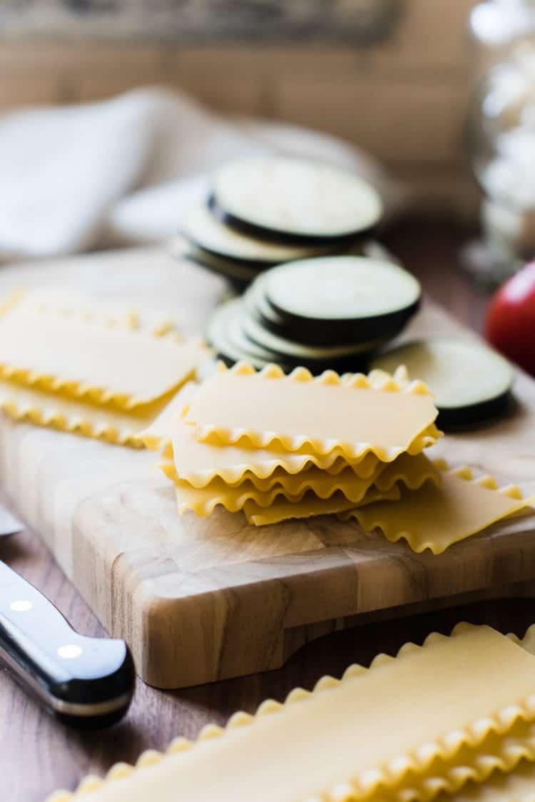 Lasagna noodles for Skillet Eggplant Lasagna.