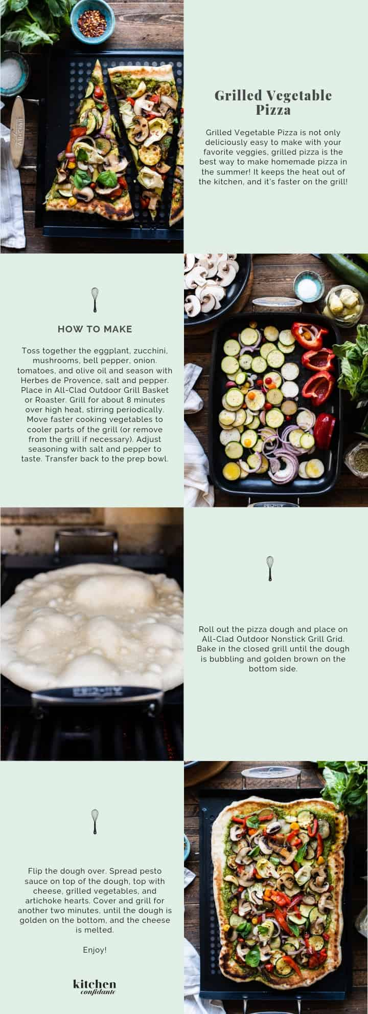 Step by step instructions for making Grilled Vegetable Pizza.