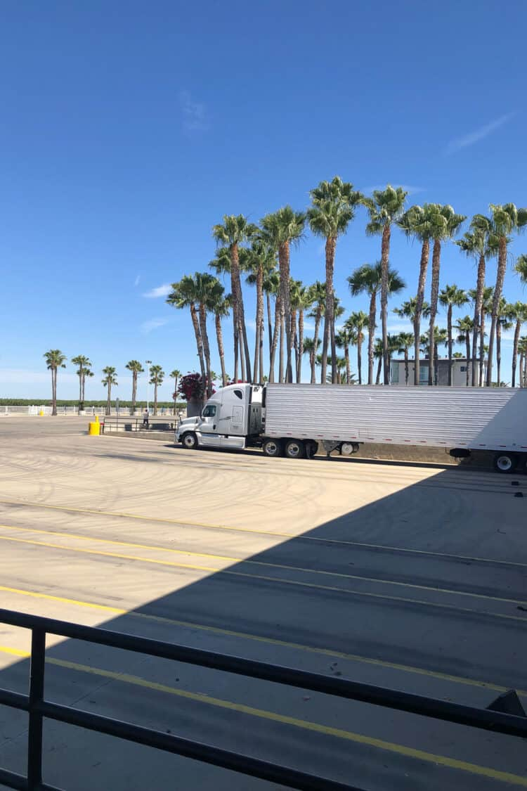 Trucks get ready to ship produce from Stamoules Produce in Central Valley California.