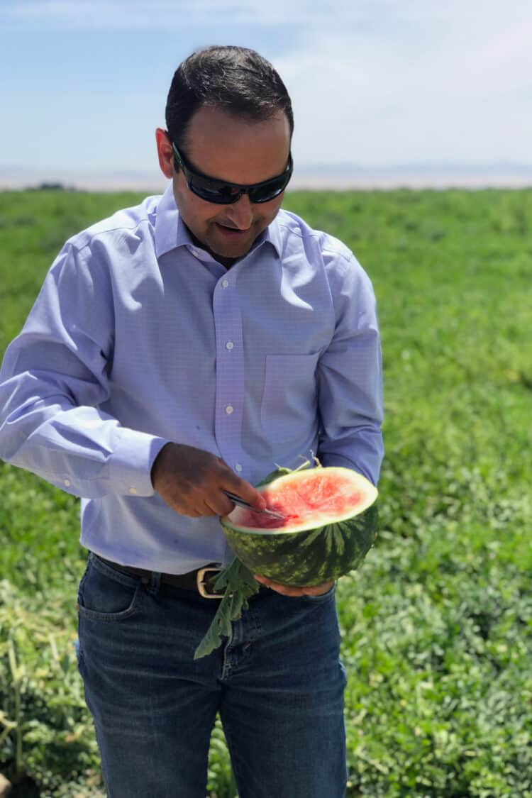 During a tour of Bowles Farming Company, a taste of watermelons from the field.