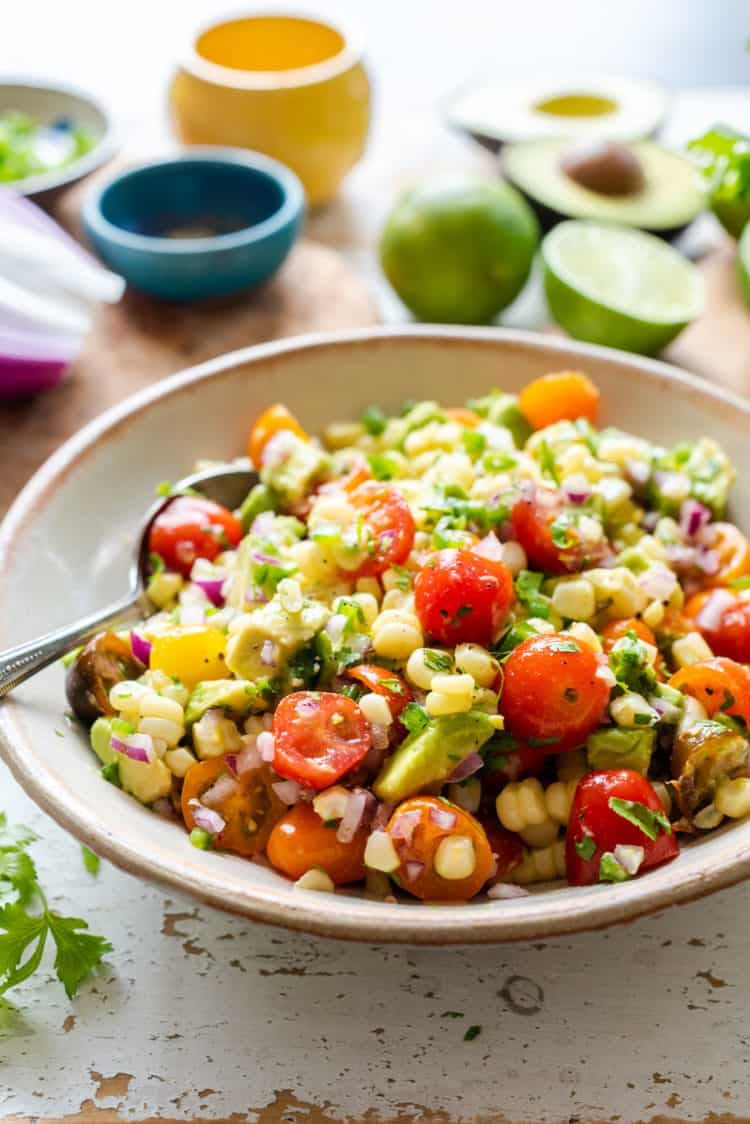 Avocado Corn Tomato Salad in a serving bowl.