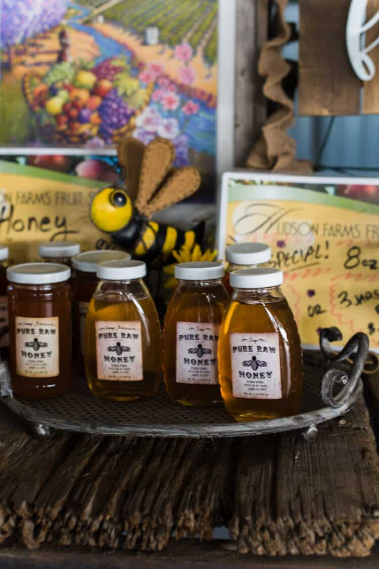 Honey for sale at Hudson Farms Food Stand, Central Valley California