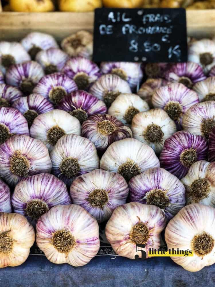 Garlic at market in Nice France.