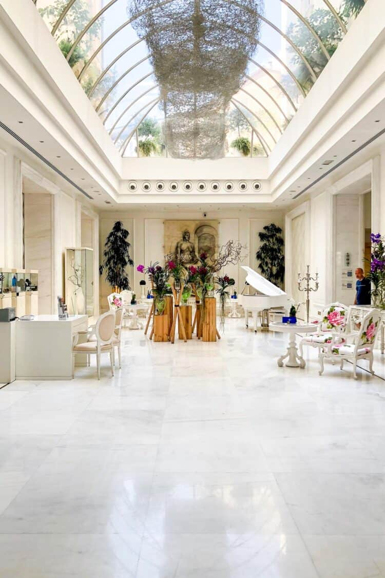Lobby of Boscolo Exedra Hotel in Nice, France.