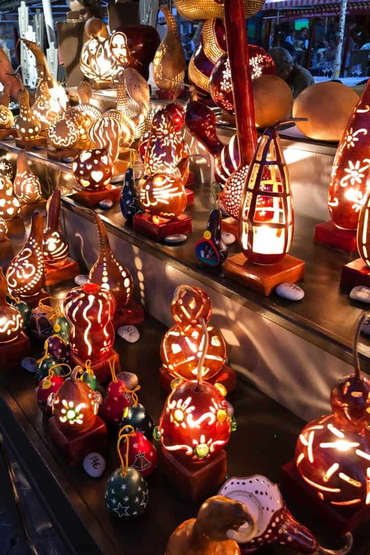 Crafts at evening market, Le Cours Saleya, Nice, France.