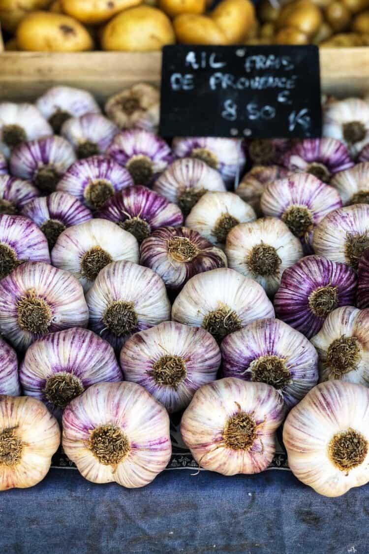 Garlic at Marché aux Fleurs Cours Saleya, Nice, France.