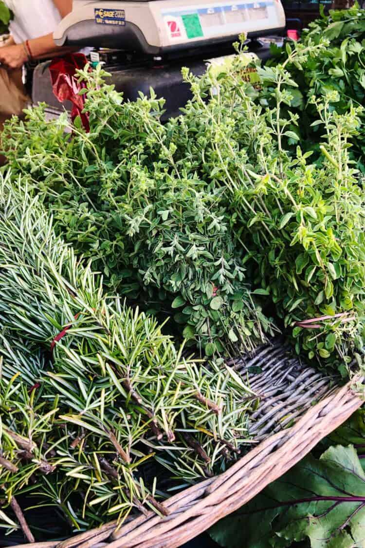 Fresh herbs at Marché aux Fleurs Cours Saleya, Nice, France.