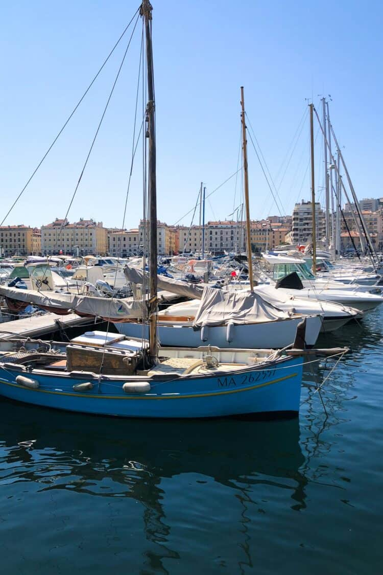 Ships at dock in Marseille, France.