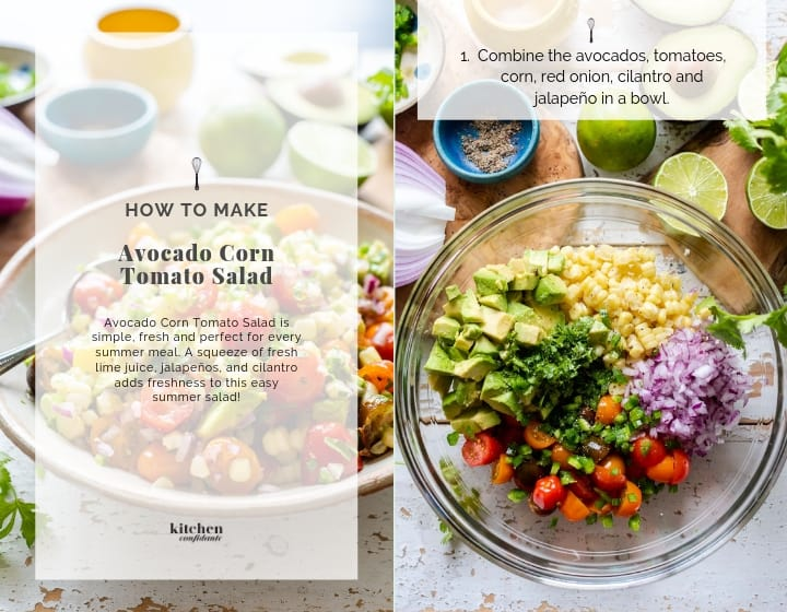 Step by step instructions for how to make Avocado Corn Tomato Salad.