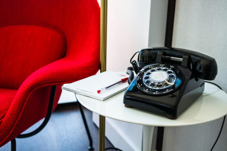 Retro rotary telephone in TWA Hotel room // TWA Hotel Review