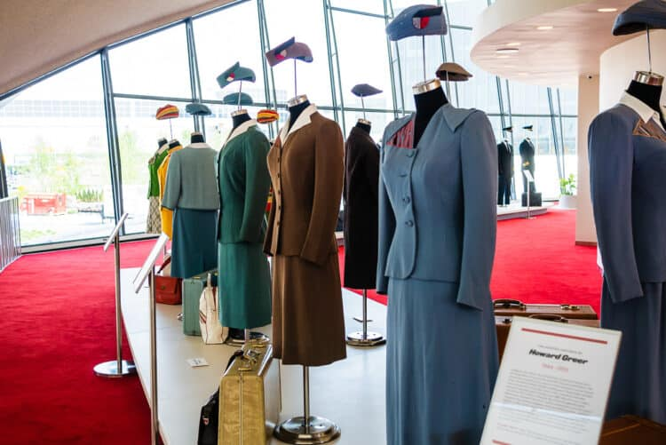 Flight attendant uniforms on display at TWA Hotel
