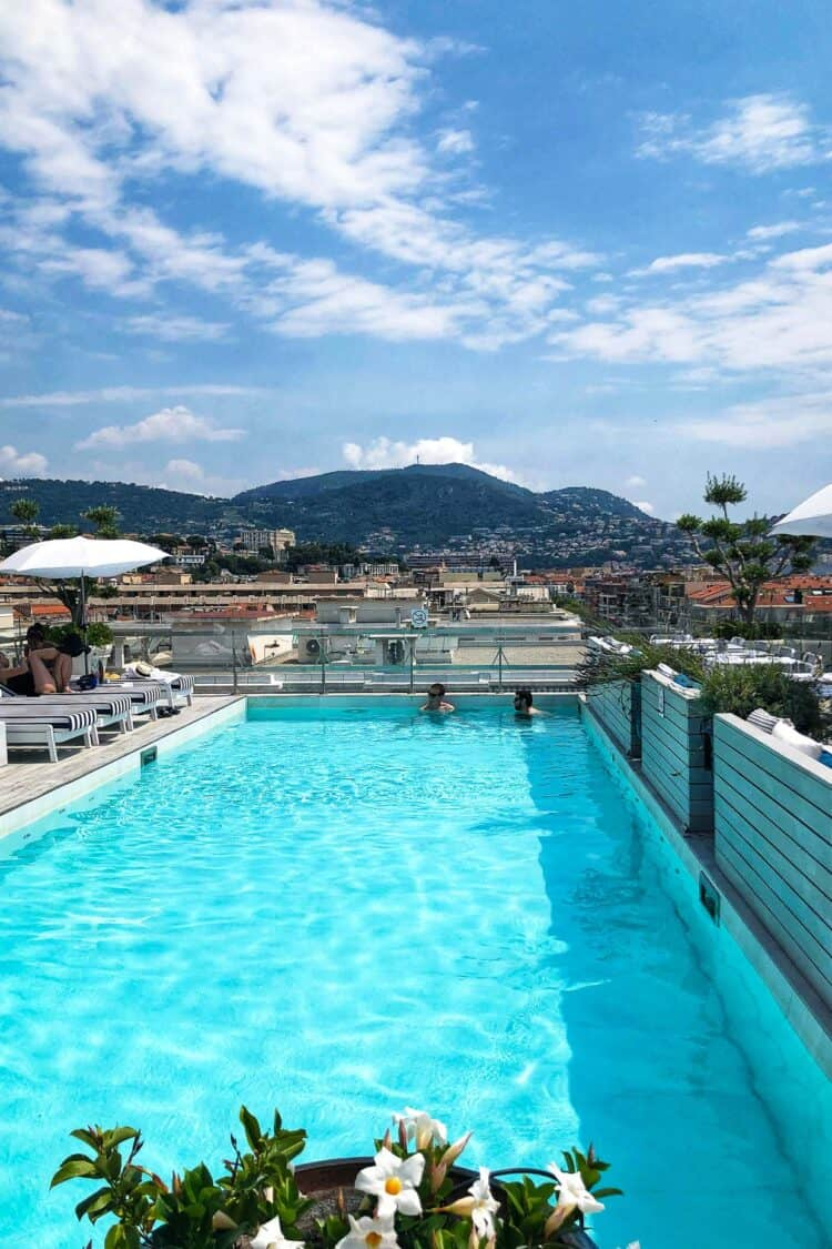 Rooftop pool of Boscolo Exedra Hotel in Nice, France.