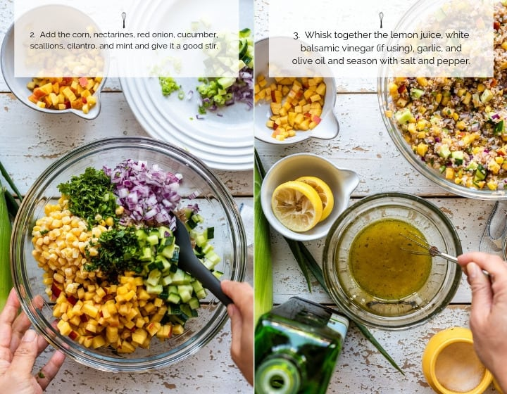 Step by step instructions for how to make Summer Corn and Nectarine Tabbouleh.