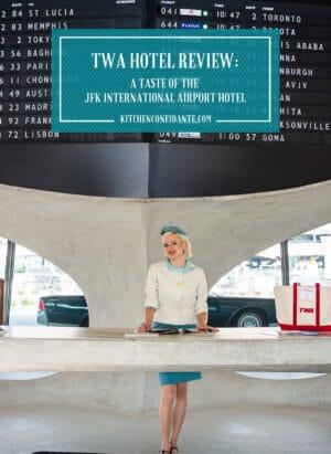Vintage TWA flight attendant at TWA Hotel in JFK Airport