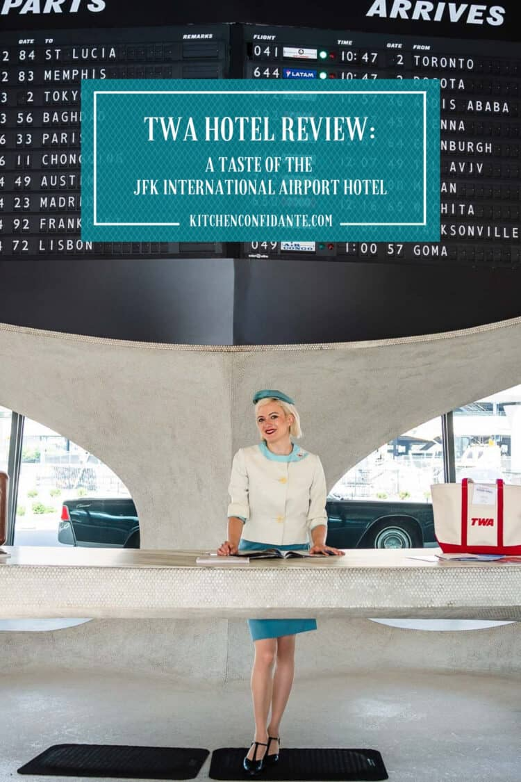 Vintage TWA flight attendant at TWA Hotel in JFK Airport