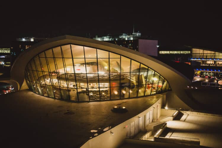 Evening view of TWA Terminal that has been transformed into TWA Hotel