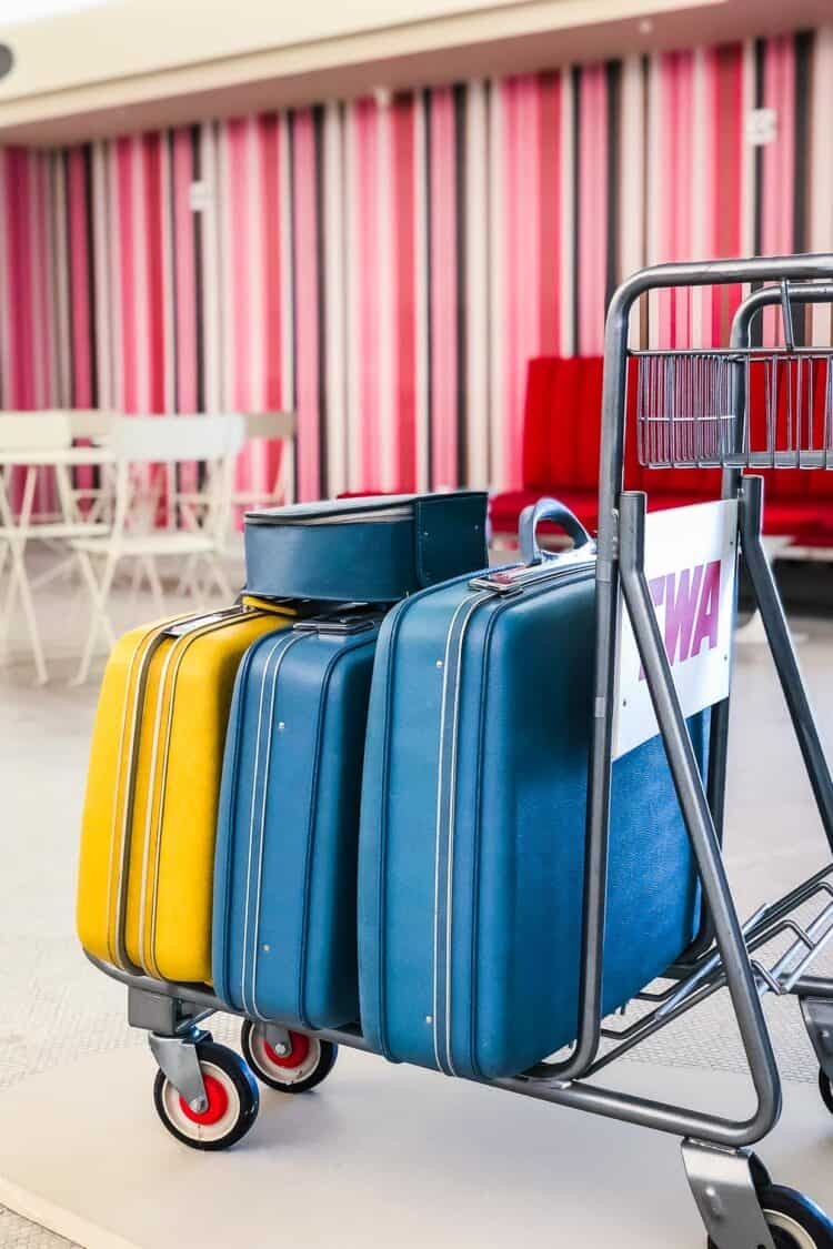 Vintage suitcases on TWA Trolley at TWA Hotel