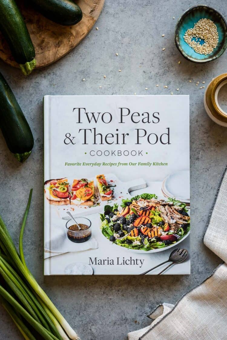 Two Peas & Their Pod Cookbook with ingredients from Sweet and Spicy Crispy Tofu with Zucchini Noodles recipe.