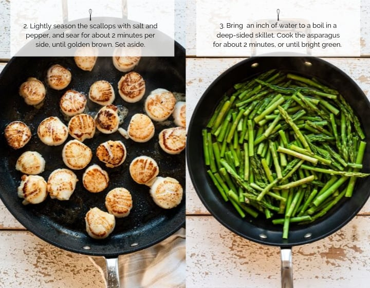 Step 2 How to Make Pan Seared Scallops with Warm Asparagus, Kale and Tangerine Salad.