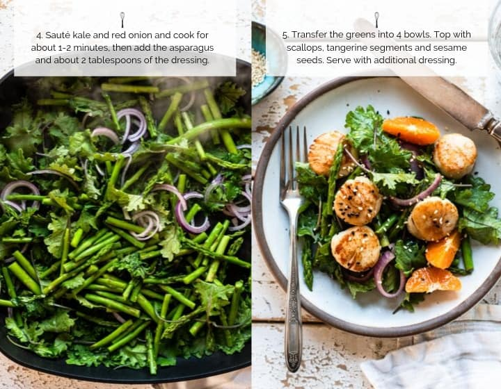 How to Make Pan Seared Scallops with Warm Asparagus, Kale and Tangerine Salad