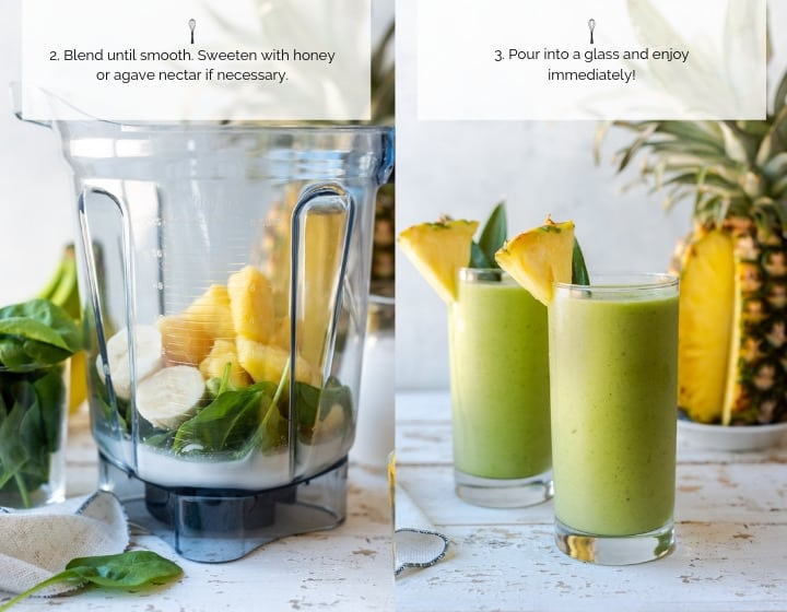 Step by step instructions - how to make Pina Colada Green Smoothie.