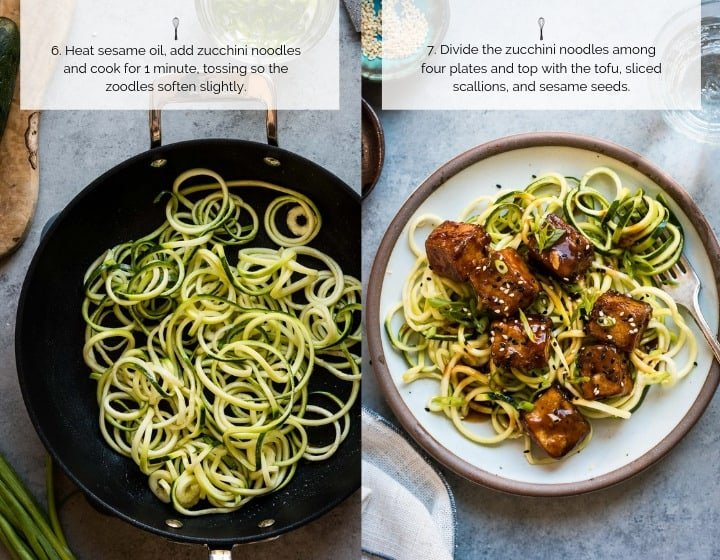 Step-by-Step How to Make Sweet and Spicy Crispy Tofu with Zucchini Noodles
