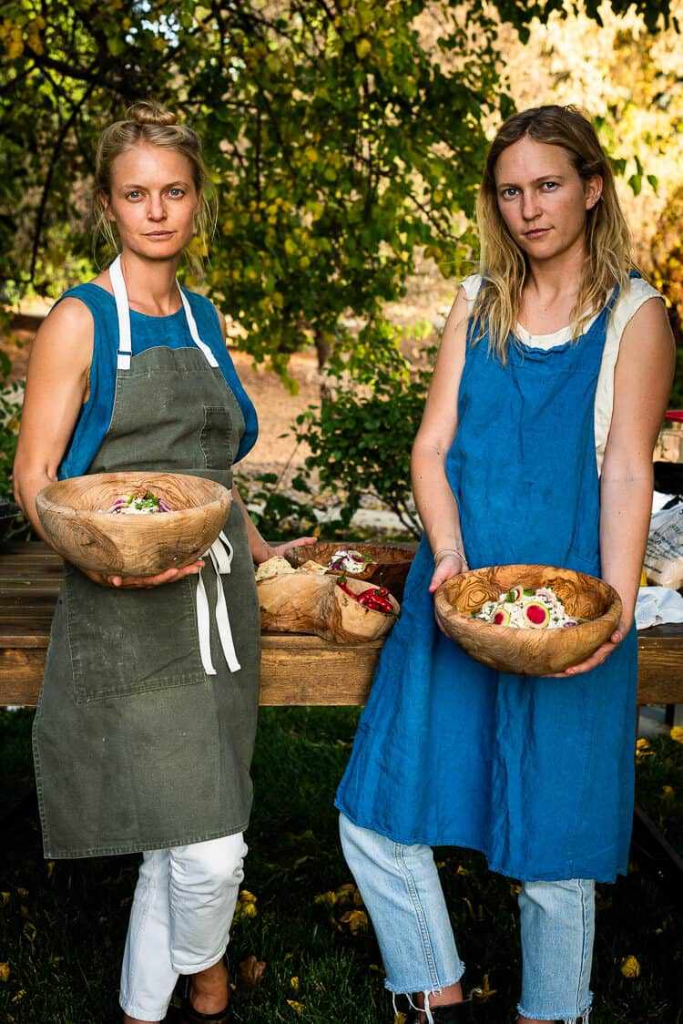 Chef Meave McAuliffe and her sister Rory McAuliffe at the Cobram Estate Harvest Tour 2019.
