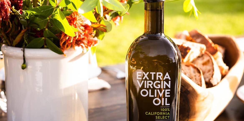 Bottle of Cobram Estate Extra Virgin Olive Oil at 2019 Cobram Estate Harvest.